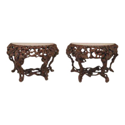 Pair of Asian Chinese Rustic Style Root Console Tables For Sale
