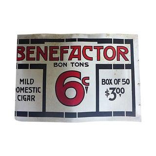 Antique Cardboard Cigar Sign For Sale
