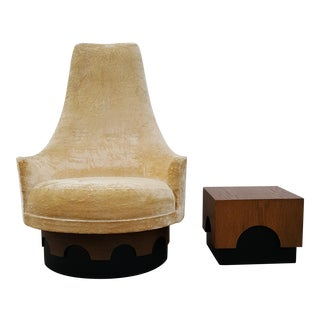 1960s Vintage High Back Adrian Pearsall Swivel Lounge Chair and Side Table For Sale