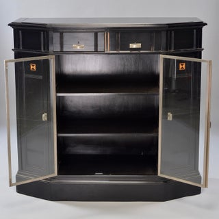 Art Deco Ebonized Cabinet With Aluminum Trim and Glass Doors Preview