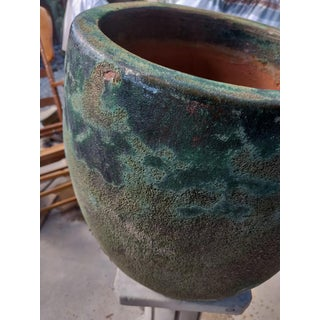 1980s Vintage Fat Lava Textured Green Blue Toned Terracotta Planter Preview
