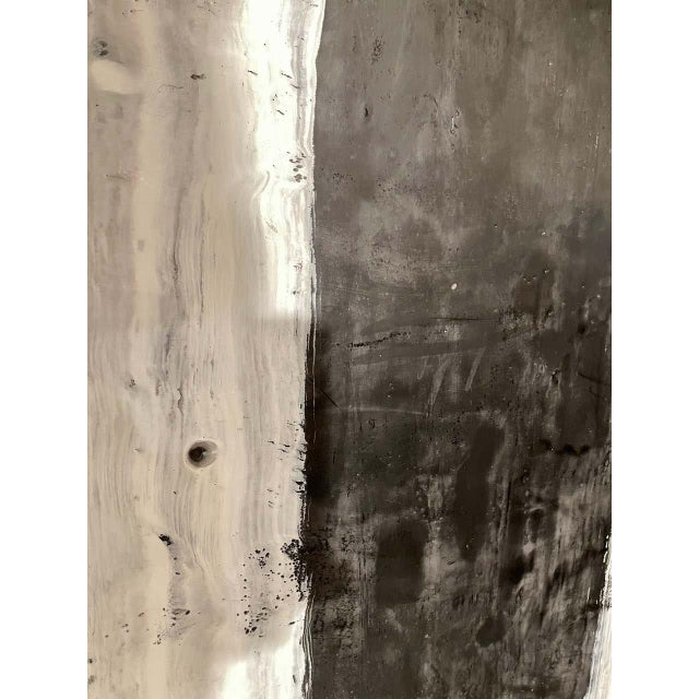 "Lynn Basa encaustic black and white stripe panel ""Camino"" (signed and dated), 2018. Encaustic on panel. This is part of..."