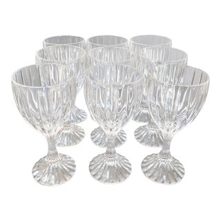 Vintage Lead Crystal Wine Glasses Goblets - Set of 9 For Sale