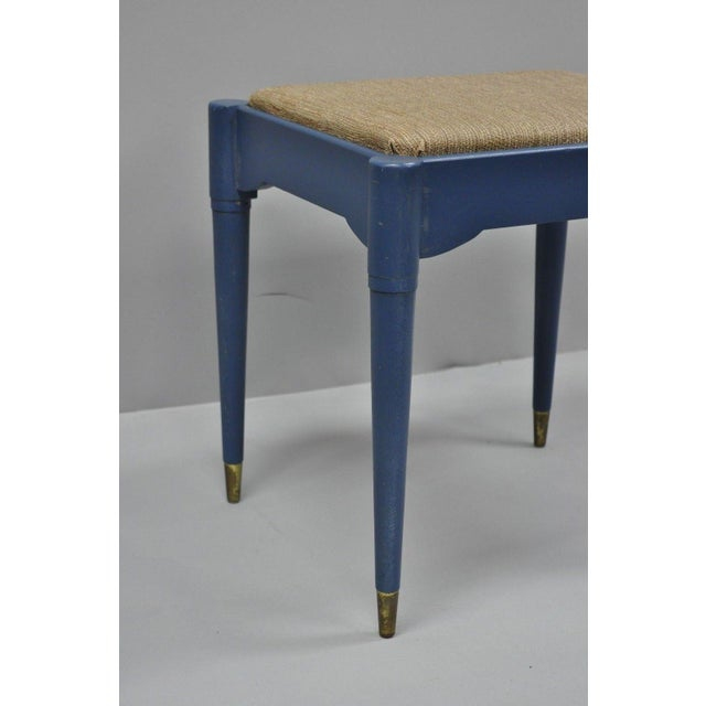 Vintage Mid-Century Modern Danish Style Blue Painted Piano Bench With Sewing Storage For Sale - Image 4 of 11