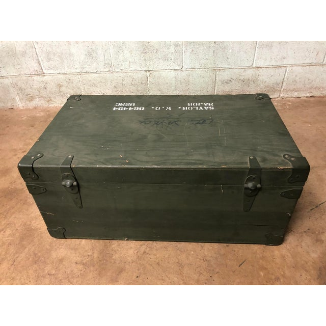 Industrial Vintage Industrial Green Wood Military Foot Locker Trunk W Tray For Sale - Image 3 of 12