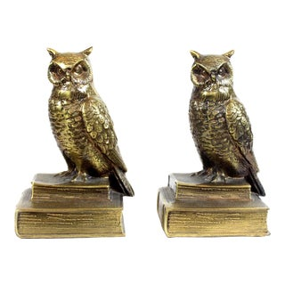 1960s Mid-Century Modern Hand Crafted Brass Owl Bookends - a Pair For Sale