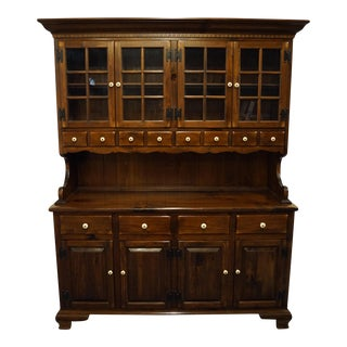 Ethan Allen Antiqued Pine Old Tavern Buffet With Display Hutch For Sale