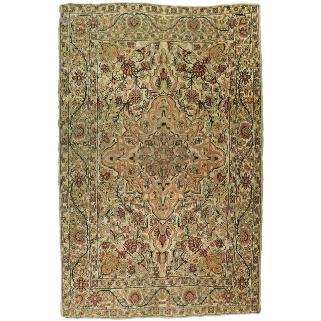 Antique Persian Kerman Lavar Rug - 4′4″ × 6′8″ For Sale