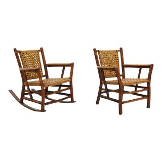 1950s Rustic Old Hickory Chairs - a Pair For Sale