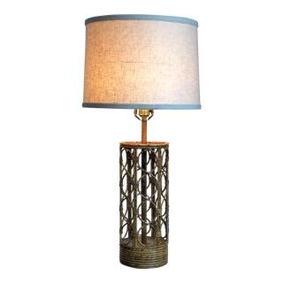 Vintage Palm Regency Bamboo Rattan Lamp For Sale