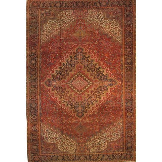 """Persian Heriz Family Hand-Knotted Rug - 11'4"""" X 17'5"""" For Sale"""