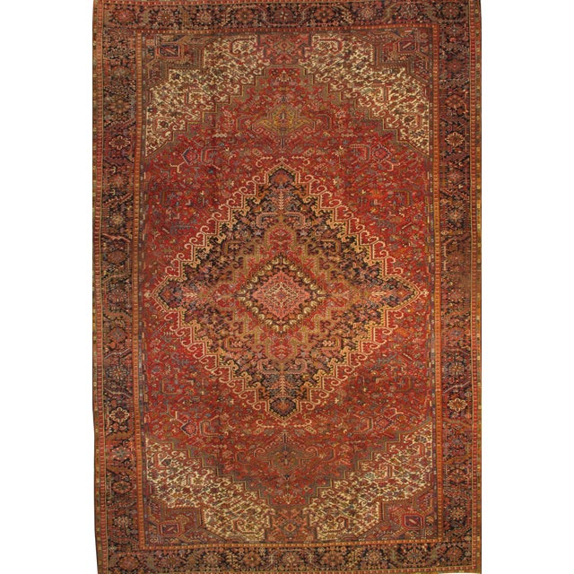"Persian Heriz Family Hand-Knotted Rug - 11'4"" X 17'5"" For Sale"