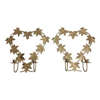 Gold Metal Wall Sconces - a Pair For Sale