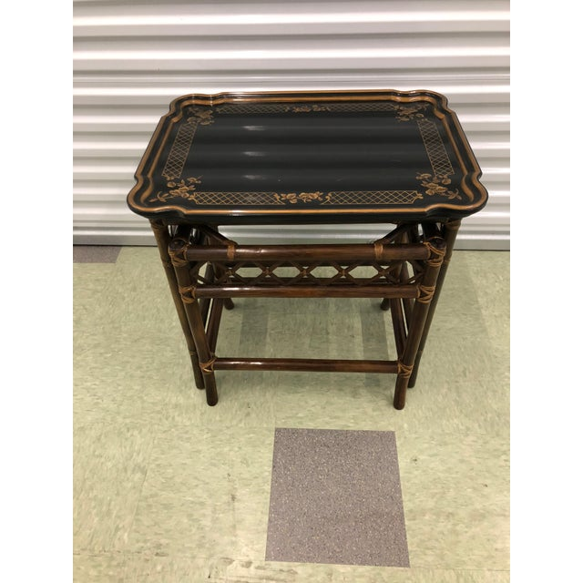 1980s Baker Furniture Chinoiserie Faux Bamboo Nesting Tables - Set of 2 For Sale - Image 5 of 10
