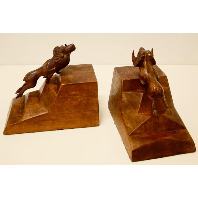 Wood 1930s Art Deco Ram Bookends - a Pair For Sale - Image 7 of 9