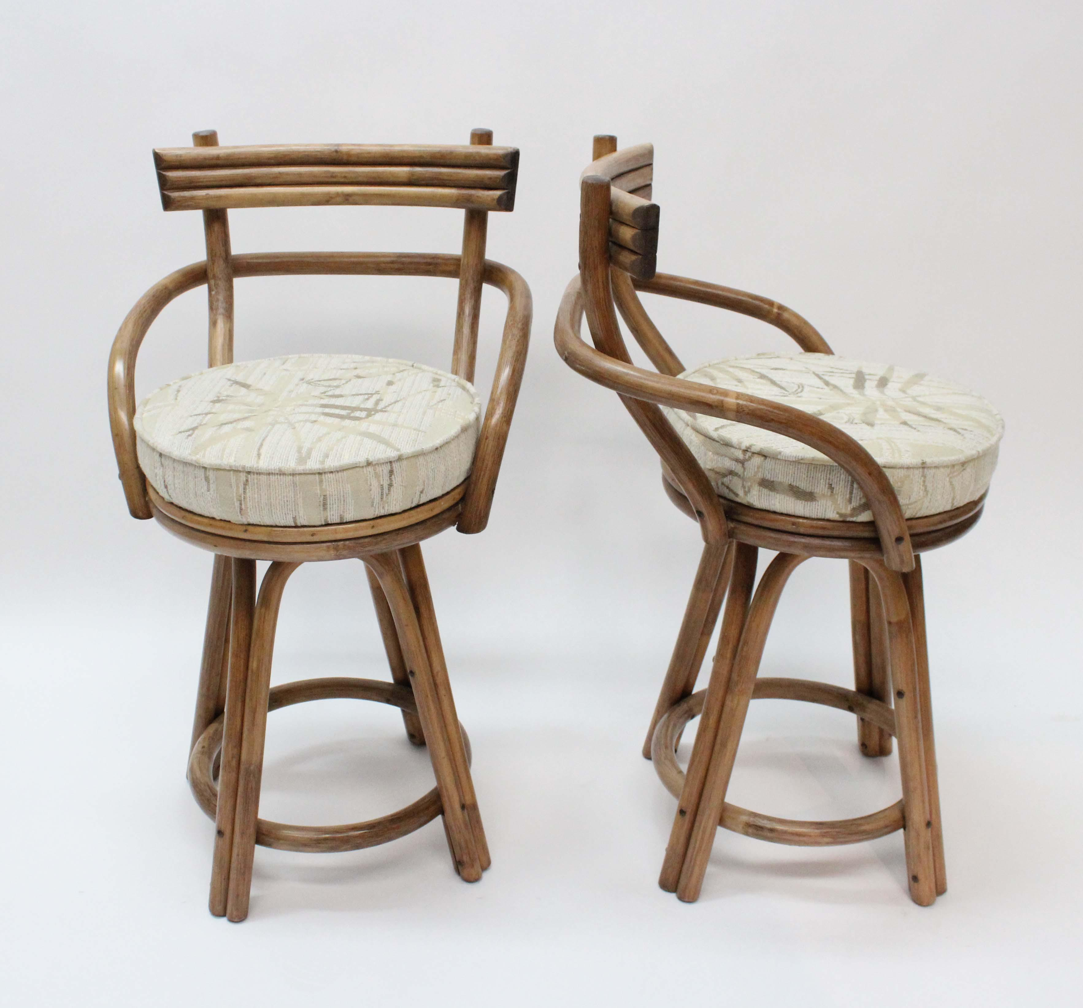 Mid Century Modern Rattan Bamboo Swivel Bar Stools Set