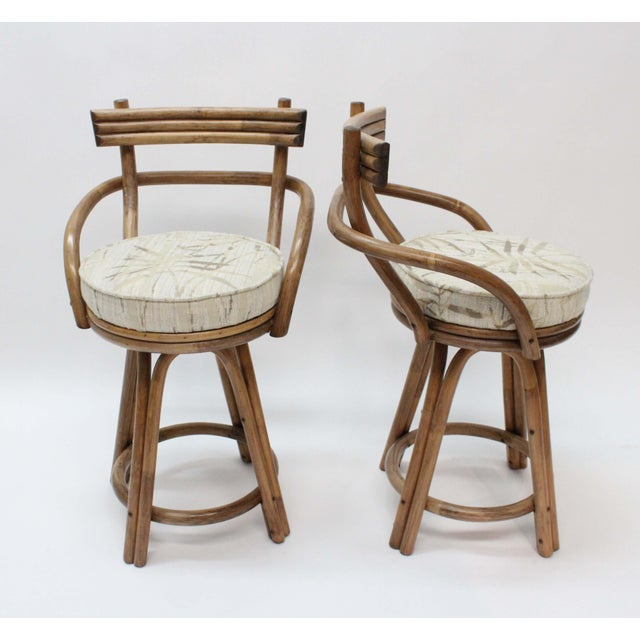 Mid-Century Modern Rattan Bamboo Swivel Bar Stools - Set of 2 - Image 3 of 6