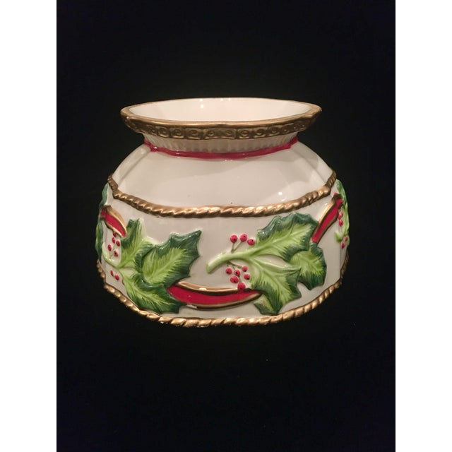 Fitz and Floyd Vintage Late 20th Century Fitz and Floyd Christmas Dish With Holly Berries For Sale - Image 4 of 10