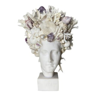 """""""Hygiea"""" Contemporary Shell and Mixed-Media Encrusted Head For Sale"""