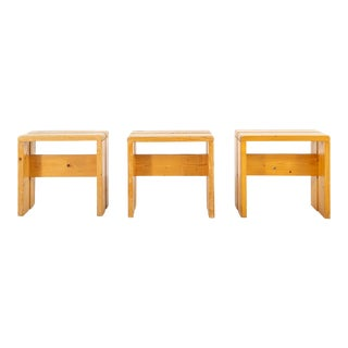 Les Arcs Pine Stools by Charlotte Perriand - Set of 3