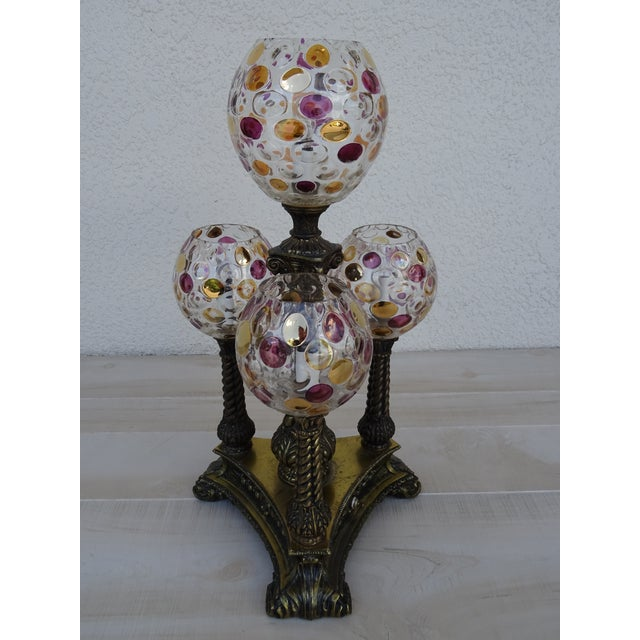 Vintage L&l Wmc Pink and Gold Four Glass Globe Lamp Mid-Century Modern For Sale - Image 9 of 11