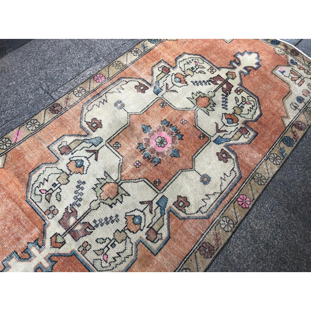 1960s Vintage Anatolian Floral Rug- 3′8″ × 7′9″ For Sale - Image 9 of 11
