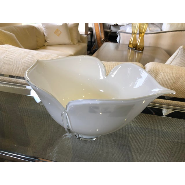 1980s Vintage Barovier E Toso Vetri Murano Italian Art Glass Centerpiece Bowl For Sale - Image 9 of 9