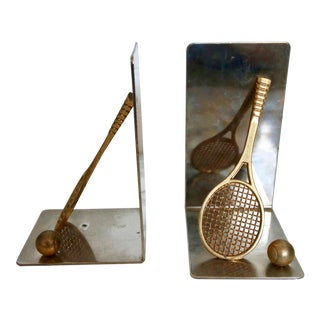 Vintage Brass Tennis Racket and Ball Book Ends - a Pair