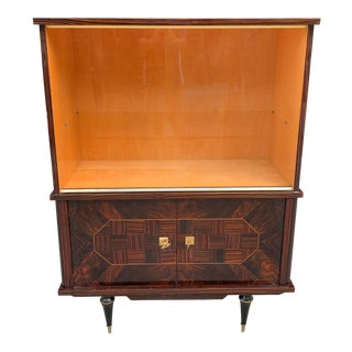 1940s Vintage French Art Deco Macassar Ebony Dry Bar Cabinet For Sale