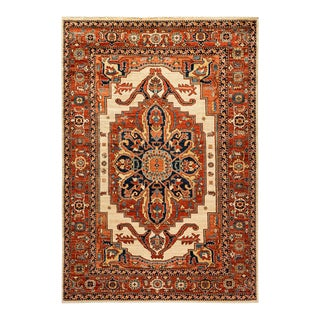 One-Of-A-Kind Oriental Serapi Hand-Knotted Area Rug, Crimson, 6' 0 X 8' 8 For Sale