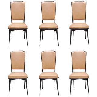 1940s Vintage French Art Deco Solid Mahogany Dining Chairs - Set of 6