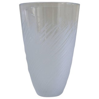 French Clear Etched Glass Vase by Salviati For Sale