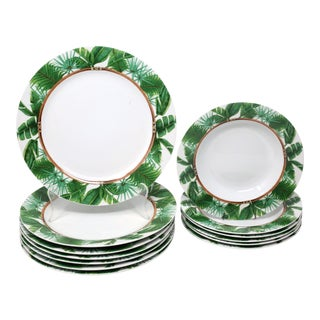 """Tropical Foliage """"Palm Island"""" Dinnerware by Florida Marketplace - Set of 13 For Sale"""