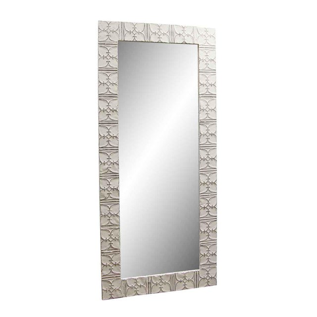 Decorative ceiling tin with leafy clover design in an antique white finish. This mirror is hand crafted using antique tin...