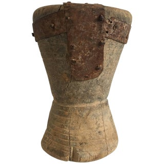 19th Century Small Wooden/Metal Mortar From Yemen/Saudi Border For Sale