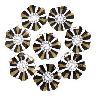 8 Piero Fornasetti Clock Coasters Dishes Gold Bergdorf Goodman Gold Black White Mid Century For Sale