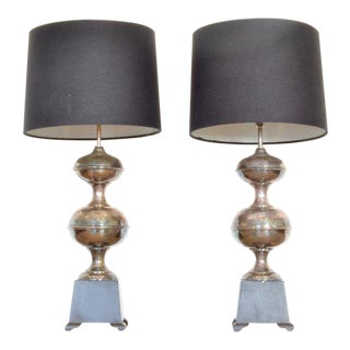 Pair of Mid-Century Silvered Lamps With Black Shades For Sale
