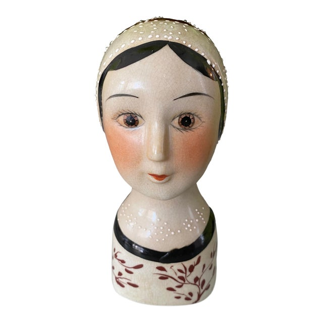 Vintage Hand Painted Flapper Girl of the Roaring 1920's For Sale