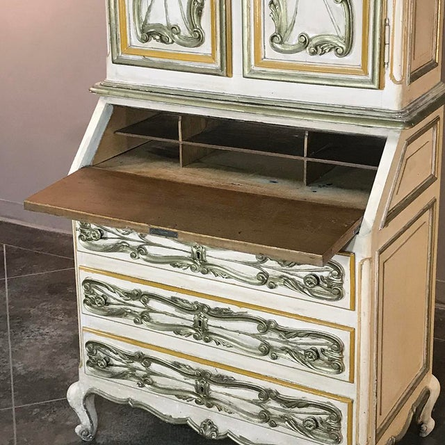 Italian Hand Painted Secretary ~ Bookcase From Torino, Italy For Sale - Image 9 of 12