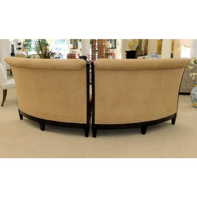 Traditional Stanford Furniture Leather & Suede Garrett Curved Dining Bench or Banquette- a Pair For Sale - Image 3 of 13