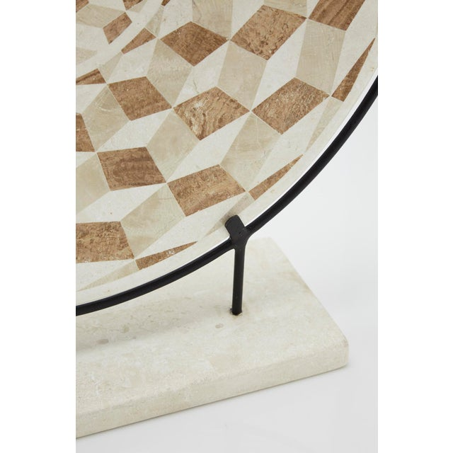 """Tan 1990s Modern Tessellated Woodstone """"Illusion"""" Plate on Iron Stand For Sale - Image 8 of 12"""