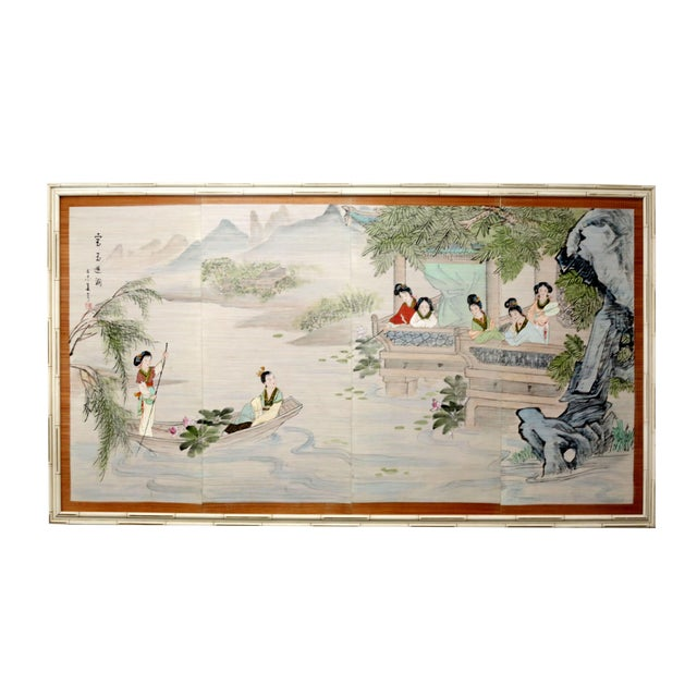 Large Painting of Asian Ladies in a Pagoda and Lake Scene For Sale