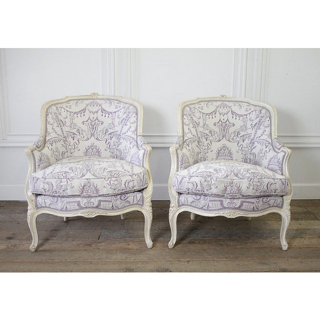 Vintage 20th Century Painted French Louis XV Style Bergere Chairs- A Pair For Sale - Image 13 of 13