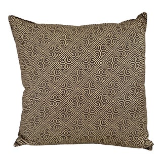 Brown & Gold Patterned Pillow For Sale