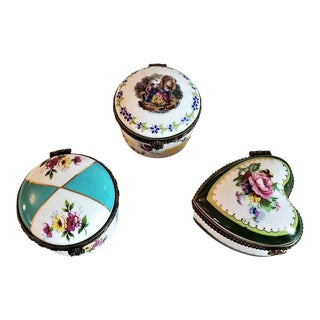 Set of 3 Limoges Ring or Snuff Boxes For Sale