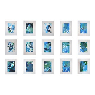 """Chelsea Fly """"Abstracts in Blue"""" Artwork Collection - Set of 15"""