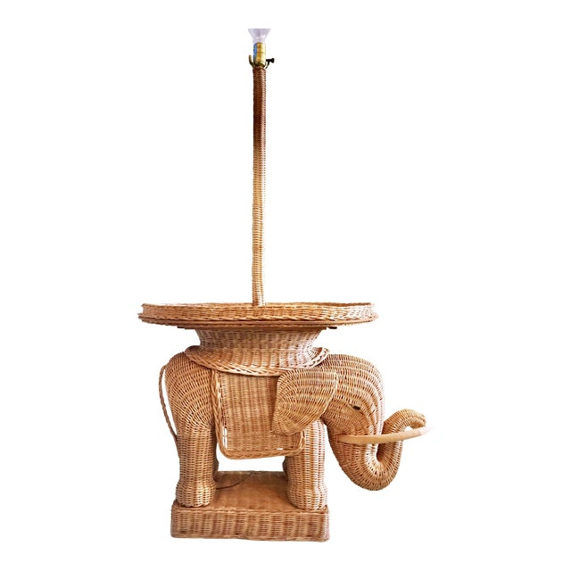 Hollywood Regency Wicker Elephant Table & Lamp - Image 1 of 11