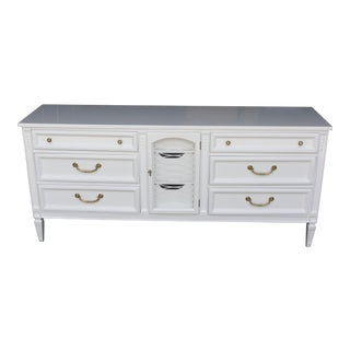 Mid Century White Lacquered Neoclassical Style Dresser For Sale