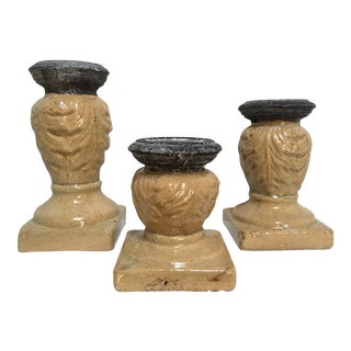 Faux Stone Ceramic Candle Holders - Set of 3 For Sale