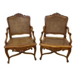 Vintage French Country Carved Wood and Caned Armchairs - a Pair For Sale